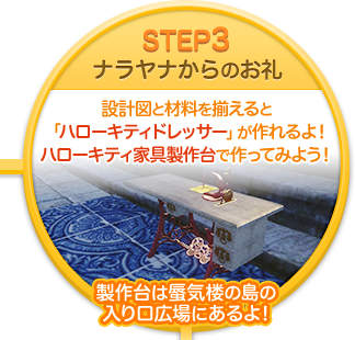STEP3 ナラヤナからのお礼 設計図の材料を揃えると「ハローキティドレッサー」が作れるよ!ハローキティ家具製作台で作ってみよう!