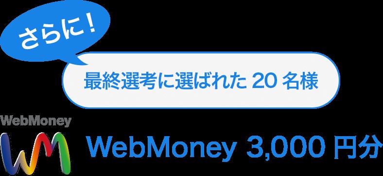 さらに!最終選考に選ばれた20名様 WebMoney 3,000円分