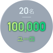 20名 100,000ユーロ
