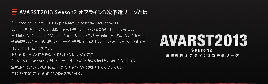 AVARST2013 Season2 オフライン3次予選リーグとは