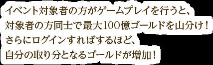 イベント対象者の方がゲームプレイを行うと、対象者の方同士で最大100億ゴールドを山分け!さらにログインすればするほど、自分の取り分となるゴールドが増加!