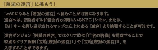 【「邂逅の迷宮」に挑もう!】Lv60になると「邂逅の迷宮」へ挑むことが可能になります。迷宮へは、冒険者ギルド協会内の2階にいるNPC「シモン」または、「M」キーを押し表示されるマップの左上にある「迷宮」より挑戦することが可能です。迷宮ダンジョン「邂逅の迷宮」ではクリア時に「亡者の胸像」を消費することで特別なクリア報酬「宝箱[邂逅の迷宮]Ⅰ」や「宝箱[邂逅の迷宮]Ⅱ」を入手することができます。