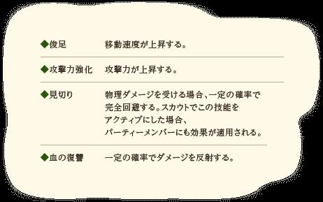 ◆俊足…移動速度が上昇する。◆攻撃力強化…攻撃力が上昇する。◆見切り…物理ダメージを受ける場合、一定の確率で完全回避するスカウトでこの技能をアクティブにした場合、パーティーメンバーにも効果が適用される◆血の復讐…一定の確率でダメージを反射する。