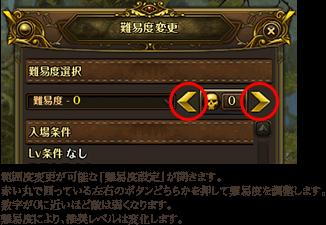 範囲度変更が可能な「難易度設定」が開きます。赤い丸で囲っている左右のボタンどちらかを押して難易度を調整します。数字が0に近いほど敵は弱くなります。難易度により、推奨レベルは変化します。