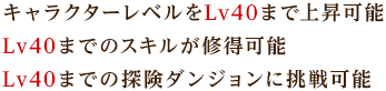 キャラクターレベルをLv40まで上昇可能Lv40までのスキルが修得可能Lv40までの探険ダンジョンに挑戦可能
