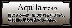 Aquilaアクイラ 貫通する矢は、敵の群れを切り裂く。広範囲攻撃も可能な弓の名手。
